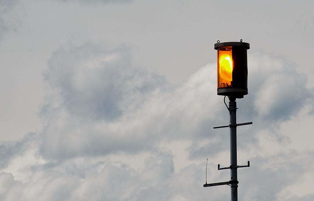 Warnblinkleuchte am Bodensee